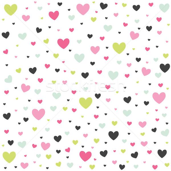 Valentijnsdag kaart harten bruiloft gelukkig muur Stockfoto © lemony