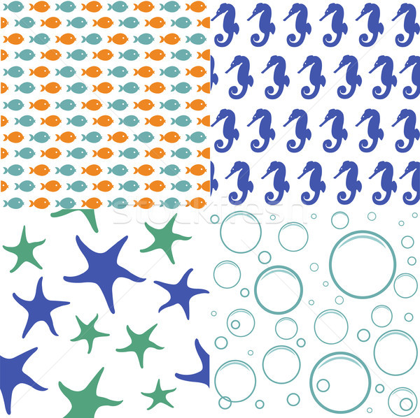 Sea seamless patterns, nautical design, marine elements Stock photo © lemony