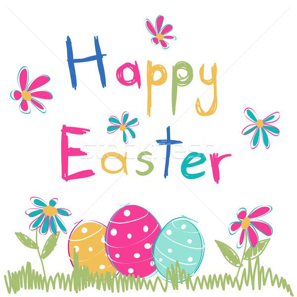 Kellemes húsvétot virágok boldog absztrakt terv művészet Stock fotó © lemony
