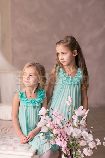 Schönen Mode Kleider Frühlingsblumen cute Stock foto © Len44ik