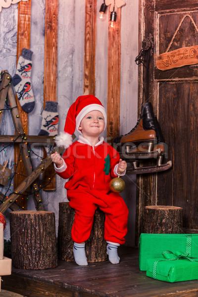 Mutlu küçük bebek kostüm noel ağaç Stok fotoğraf © Len44ik