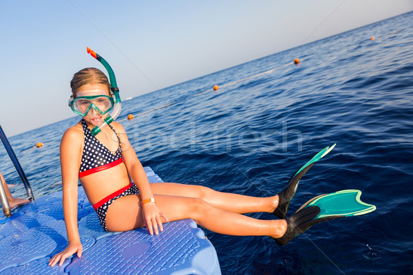 Cute girl in water mask and swim fins Stock photo © Len44ik