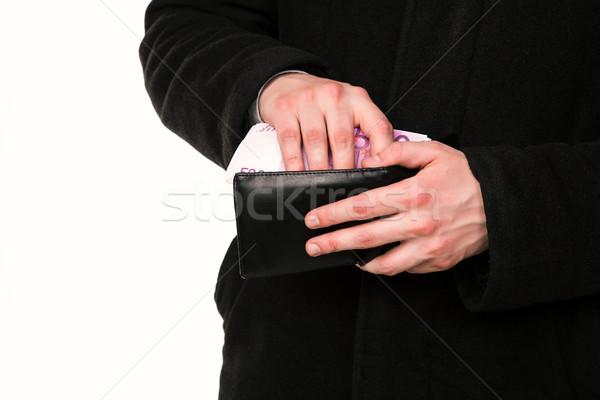 Empresario manos dinero cartera aislado blanco Foto stock © Len44ik