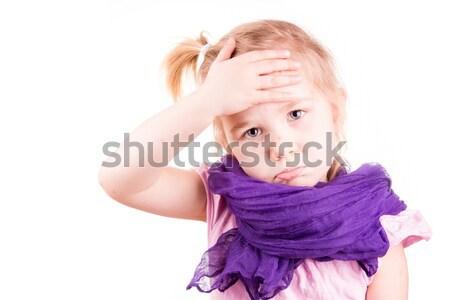 Ziek meisje temperatuur geïsoleerd witte Stockfoto © Len44ik