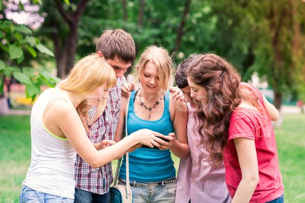 Foto d'archivio: Gruppo · felice · sorridere · adolescente · studenti · guardando