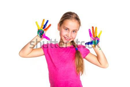 Mutlu küçük kız eller boya yalıtılmış beyaz Stok fotoğraf © Len44ik