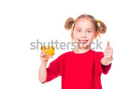 Cute meisje glas sap glimlachend Stockfoto © Len44ik