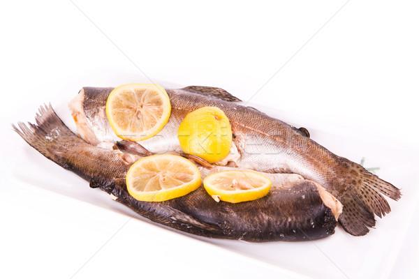 トラウト レモン 調理済みの 蒸し器 健康食品 孤立した ストックフォト © Len44ik