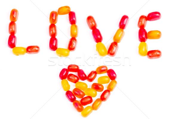 Kleurrijk gelei snoep liefde nota geïsoleerd Stockfoto © Len44ik