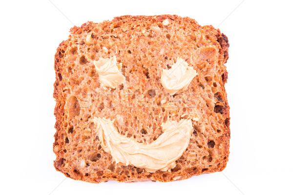 Pindakaas sandwich glimlach geïsoleerd witte glas Stockfoto © Len44ik