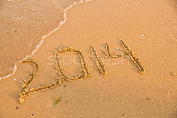 2014 számok citromsárga homokos tengerpart szöveg nyár Stock fotó © Len44ik