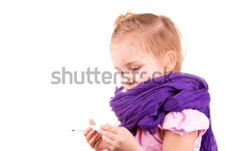 Malati bambina temperatura isolato bianco Foto d'archivio © Len44ik