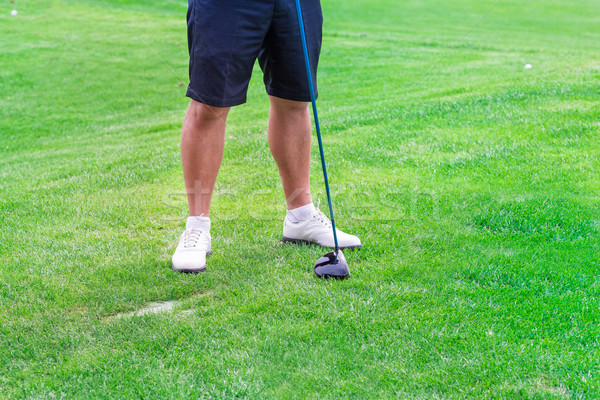 Low section of golf player ready to hit the ball Stock photo © Len44ik