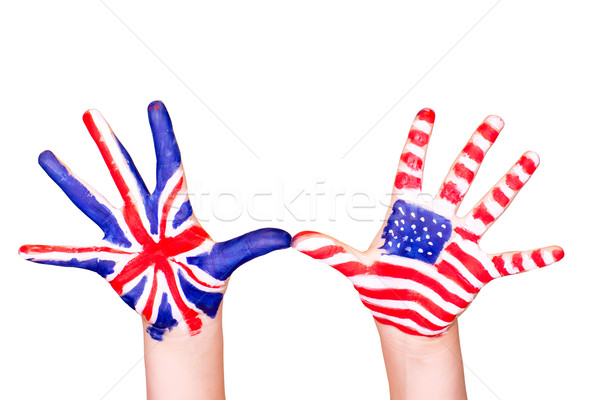 American and English flags on hands.  Stock photo © Len44ik