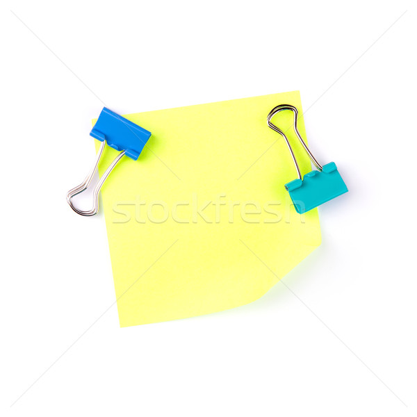 Neon yellow paper note with blue clips Stock photo © Len44ik