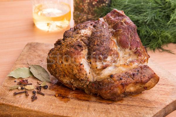 Gegrild varkensvlees biefstuk vlees voedsel Stockfoto © Len44ik
