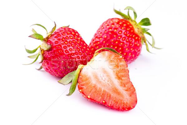 Vers aardbeien geïsoleerd witte studio macro Stockfoto © Len44ik
