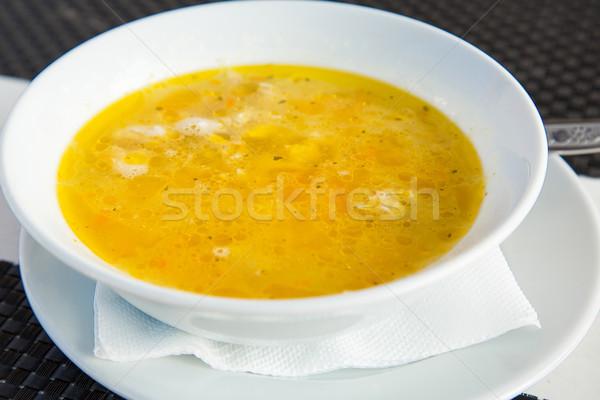 Taze çorba hizmet plaka gıda sağlık Stok fotoğraf © Len44ik