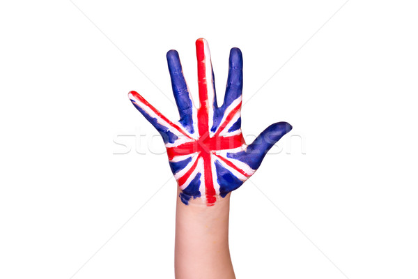 The United Kingdom flag on a hand. Travelling to The United Kingdom concept. Eurotrip. Stock photo © Len44ik