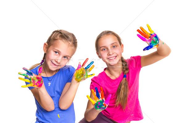 Stockfoto: Gelukkig · meisjes · handen · verf · geïsoleerd · witte