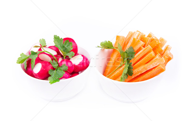 Frischen saftig Karotte Rettich bereit essen Stock foto © Len44ik