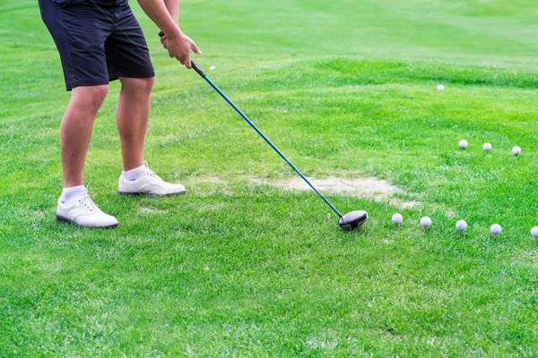 Foto stock: Baixo · seção · jogador · de · golfe · pronto · bola · masculino