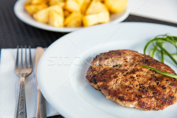Grilled meat cutlet served Stock photo © Len44ik
