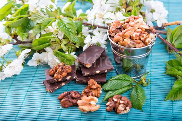 Stockfoto: Stukken · chocolade · noten · Blauw · bamboe · voedsel