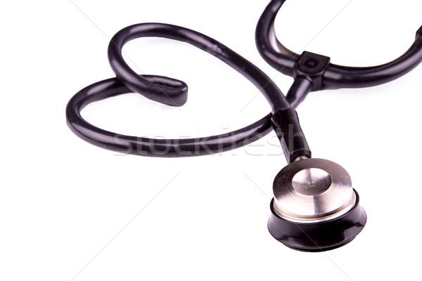 Medycznych stetoskop formularza serca odizolowany biały Zdjęcia stock © Len44ik