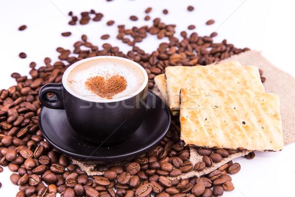 Fincan kahve kalp kahve molası kahve çekirdekleri tarçın Stok fotoğraf © Len44ik