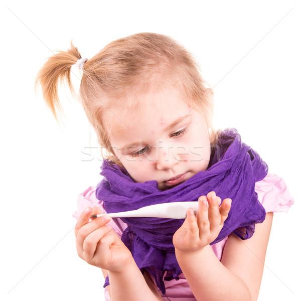 Sick little girl with chickenpox measuring temperature Stock photo © Len44ik