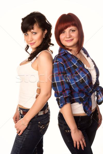 Twee jonge mooie toevallig meisjes Stockfoto © Len44ik