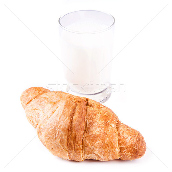 Fresh and tasty French croissant with glass of milk Stock photo © Len44ik