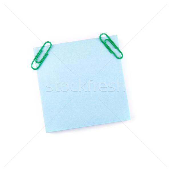 Blauw papier nota groene geïsoleerd witte Stockfoto © Len44ik