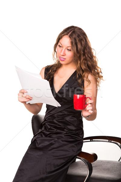 魅力的な 女性実業家 読む 書類 カップ ストックフォト © Len44ik