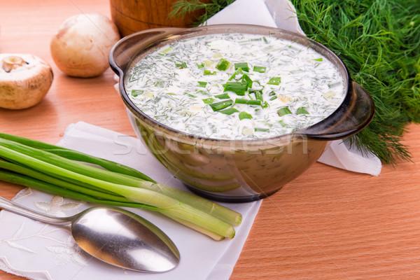 Hideg joghurt leves tojássárgája orosz hagyományos Stock fotó © Len44ik