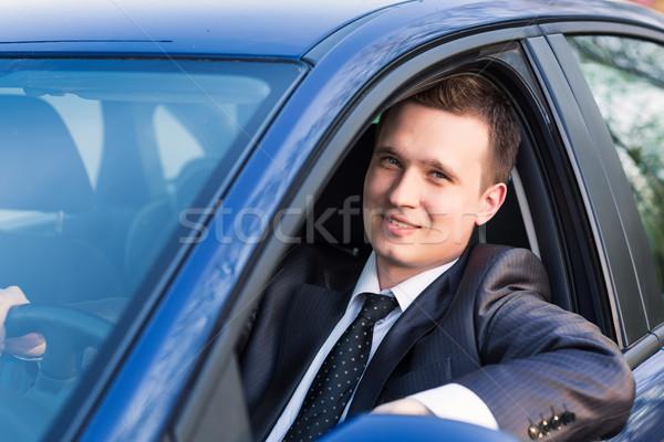 Yakışıklı genç işadamı yeni araç oturma iş Stok fotoğraf © Len44ik