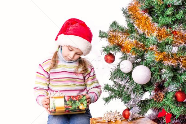 Cute nina sombrero árbol de navidad ninos feliz Foto stock © Len44ik