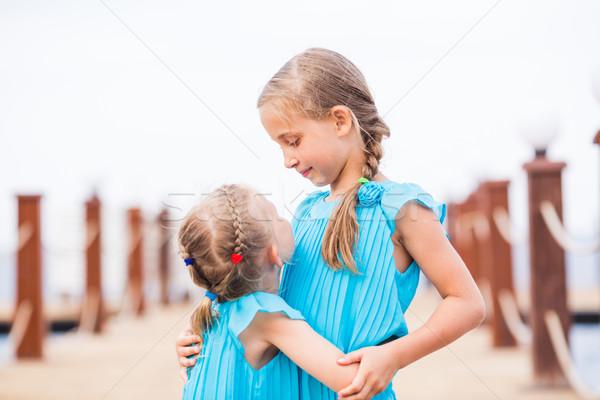 Porträt schönen Schwestern Pier Stock foto © Len44ik