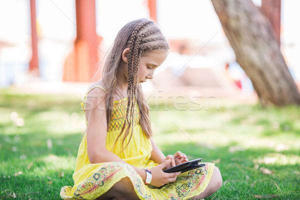 Cute девочку обучения парка семьи Сток-фото © Len44ik