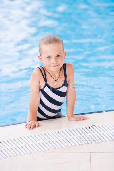 Aranyos kislány úszómedence tanul baba arc Stock fotó © Len44ik