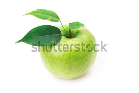 Fresh green apple with leaves Stock photo © Len44ik