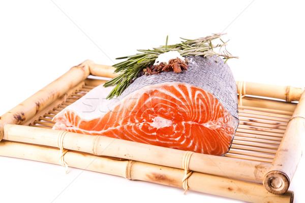 Crudo salmón filete romero bambú bordo Foto stock © Len44ik