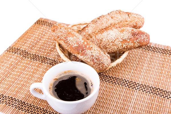 Frisch gebacken Brot Rollen Sesam Tasse Stock foto © Len44ik