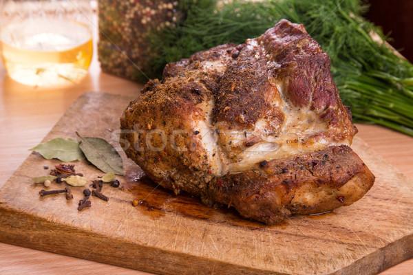 Gegrillt Schweinefleisch Steak Fleisch Holzbrett Essen Stock foto © Len44ik