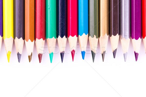 Couleur crayons isolé blanche bois Photo stock © Len44ik