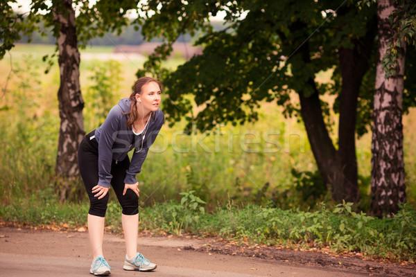Runner vrouw jogging natuur outdoor mooie Stockfoto © Len44ik