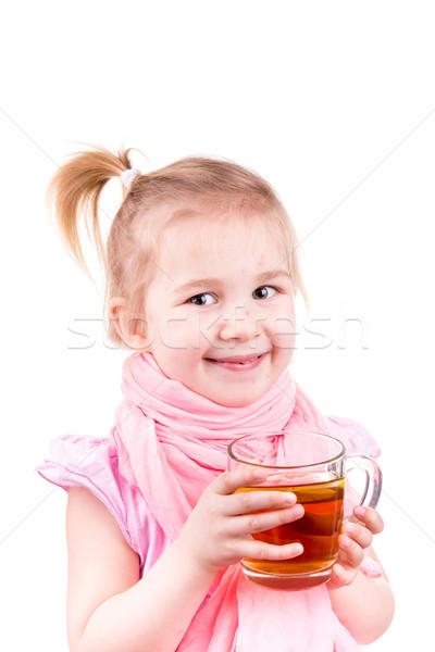 Stock foto: Krank · kleines · Mädchen · trinken · Tee · Zitrone · isoliert