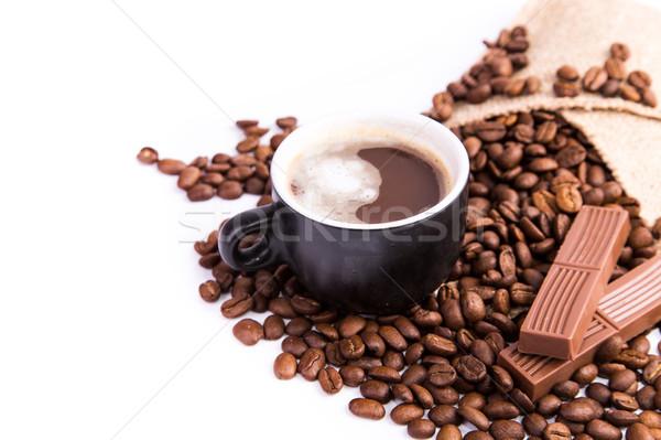 Csésze kávé kávészünet kávé csokoládé rácsok Stock fotó © Len44ik