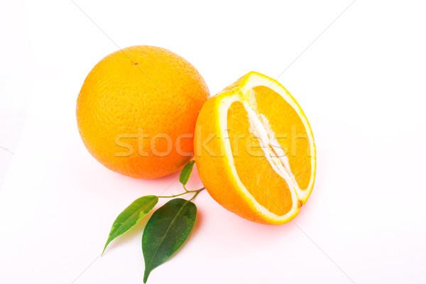 Foto stock: Fresco · suculento · laranjas · isolado · branco · folha